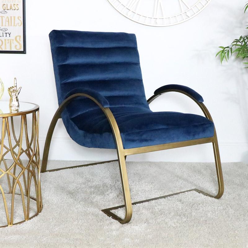Navy Blue & Gold Ribbed Velvet Chair