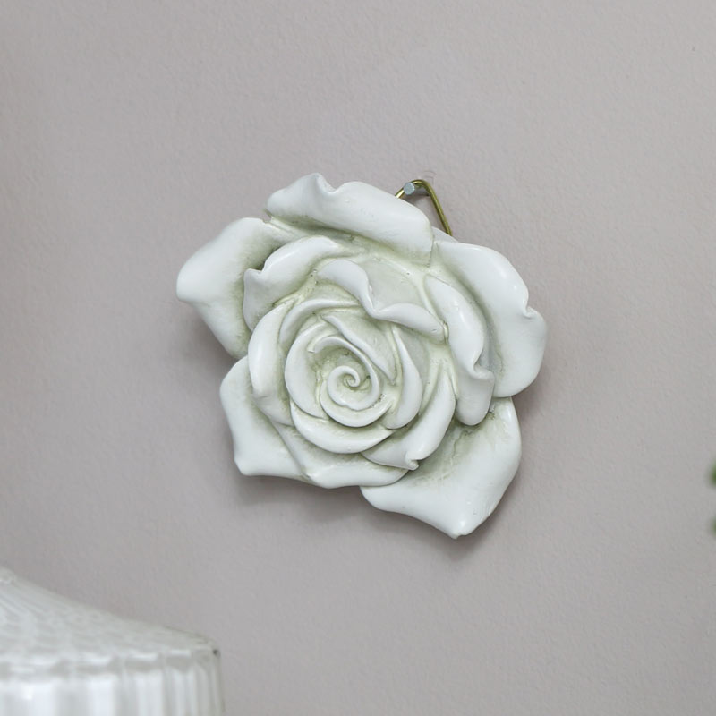 Ornate White Rose Wall Art