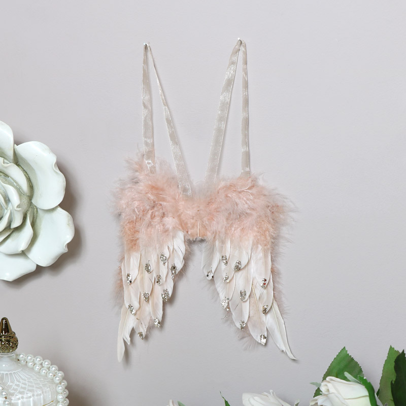 Pink Feather Angel Wings