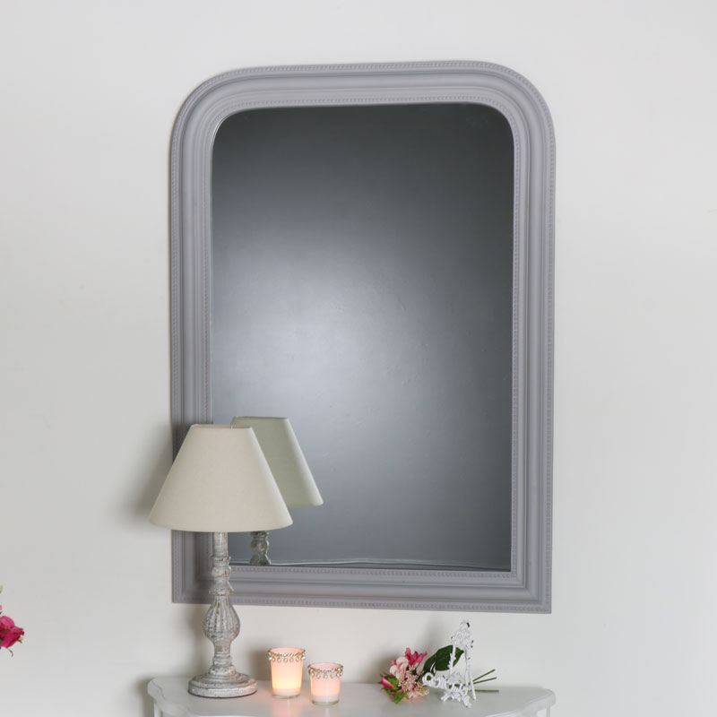 Beaded Grey Arched Mantel Wall Mirror