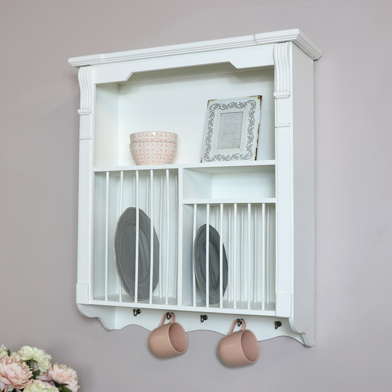 White Wall Mounted Plate Rack