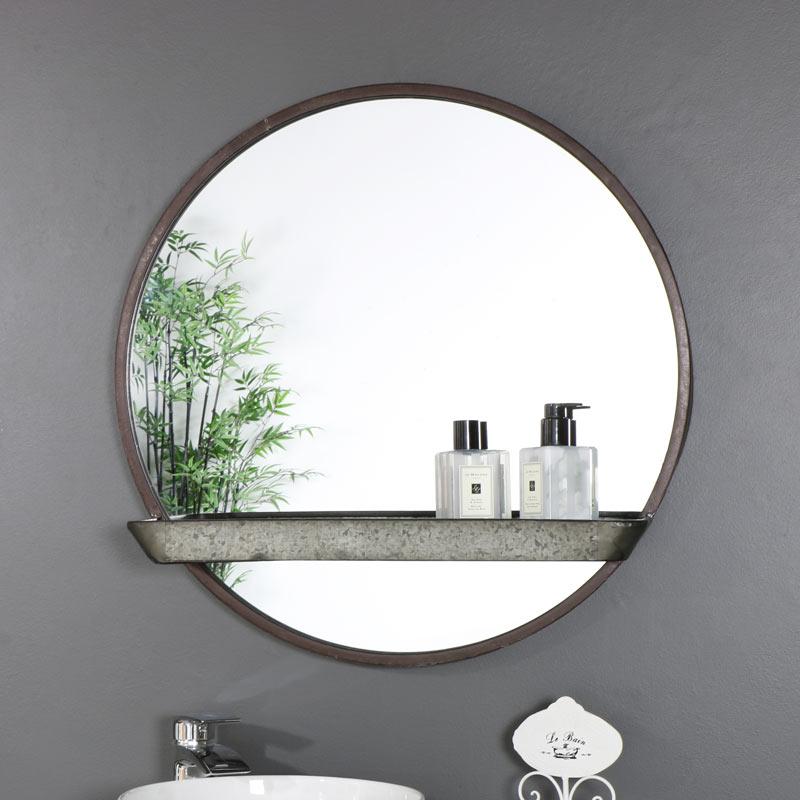 Rustic Industrial Round Mirror with Shelf 60cm x 60cm