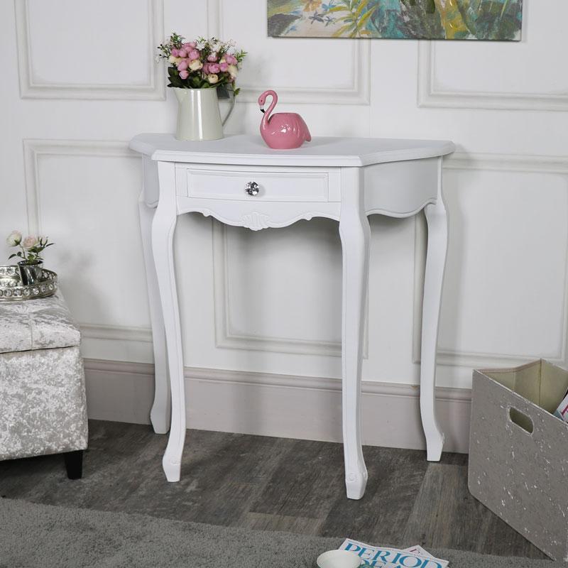 White One Drawer Half Moon Console Table - Elise White Range