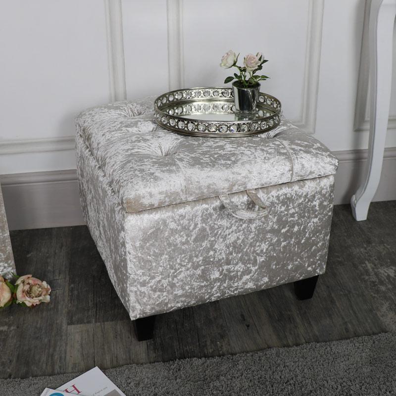 Pearl White Crushed Velvet Storage Stool/Pouffe