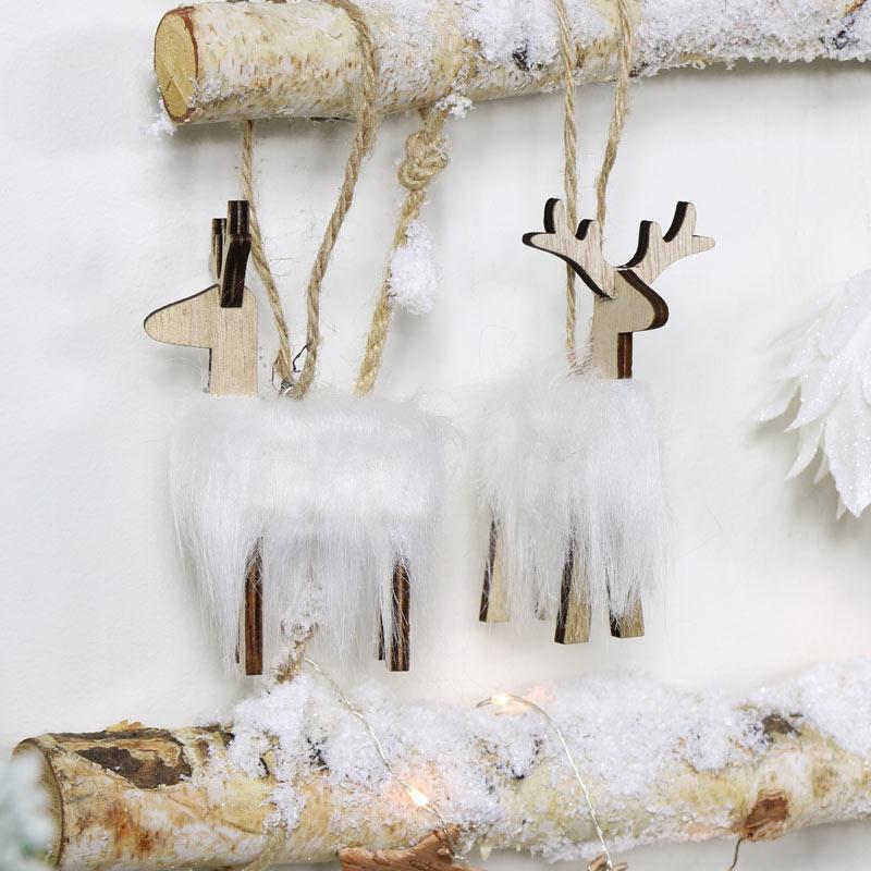 Set of 2 Christmas Reindeer Tree Ornaments