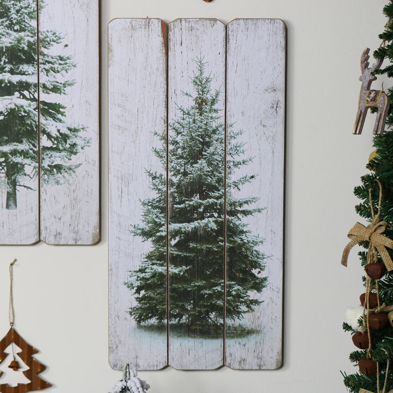 Snow Covered Fir Tree Plaque