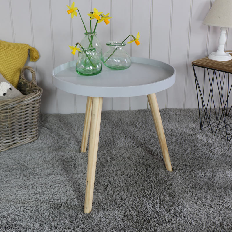 Light Grey Round Side Table