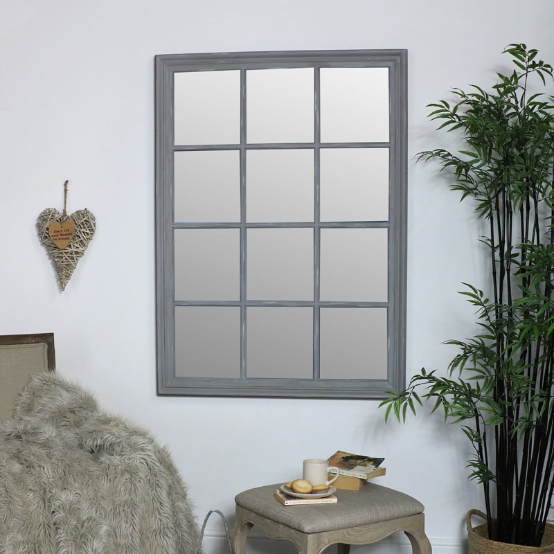 Large Grey Rectangle Window Mirror