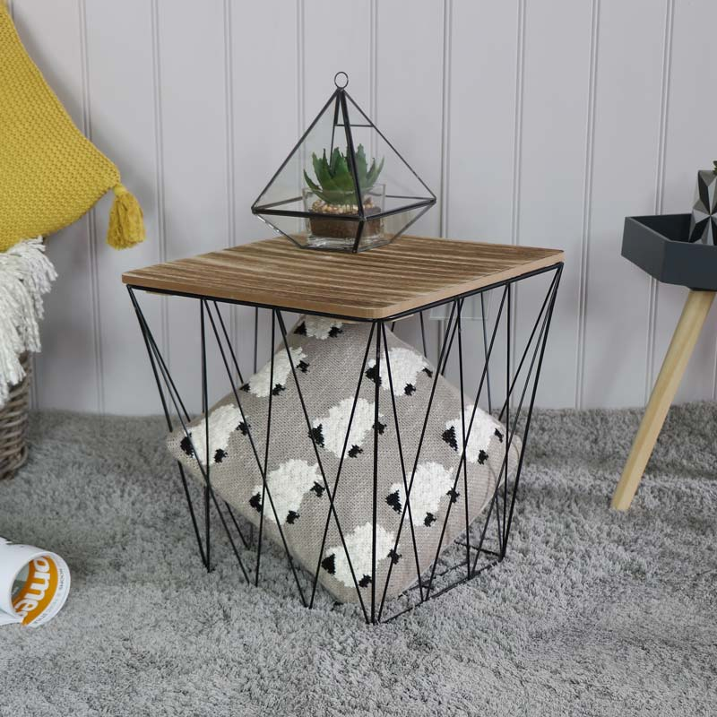 Black Metal Square Basket Wooden Top Table