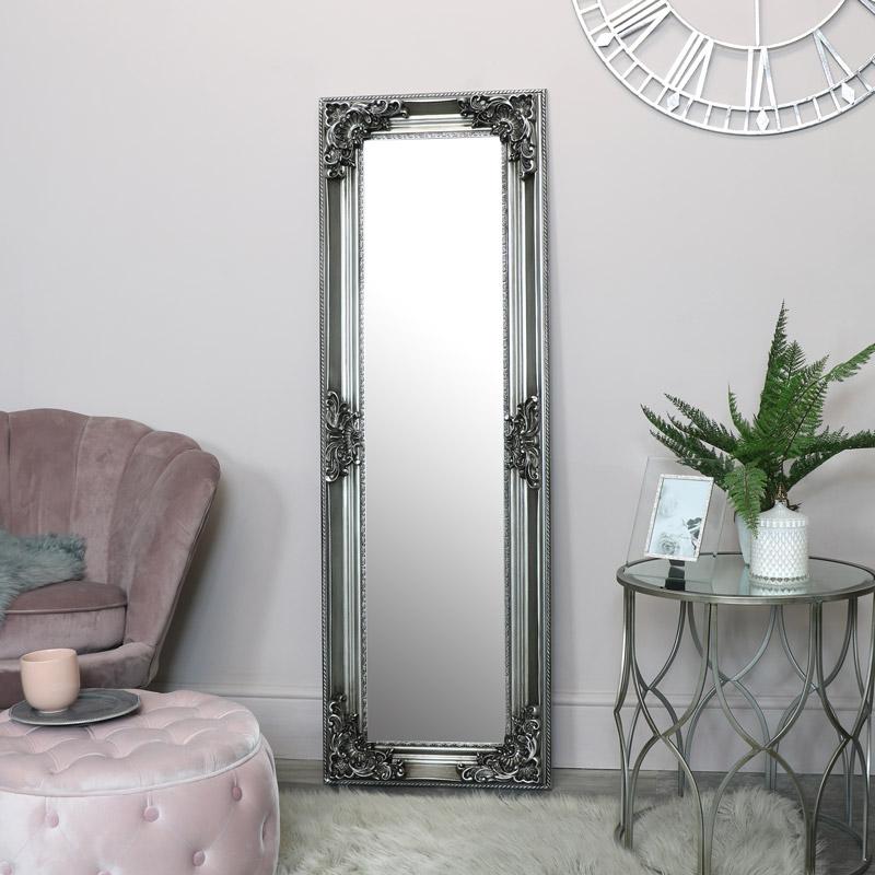 Tall Slim Silver Ornate Wall Mirror