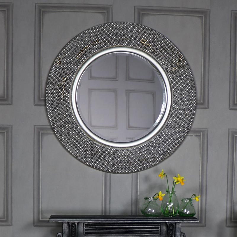 Extra Large Round Antique Silver Beaded Wall Mirror