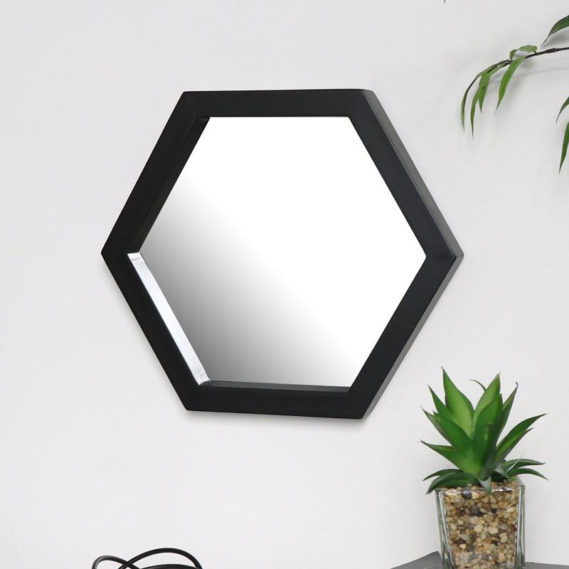 Small Black Hexagon Mirror