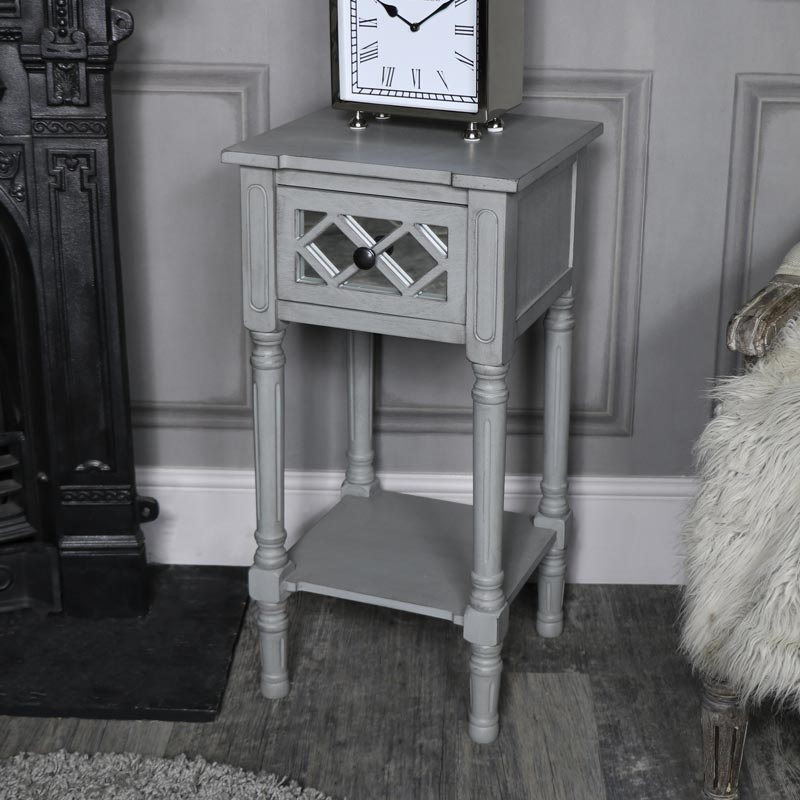 Grey Mirrored 1 Drawer Bedside/Lamp Table - Vienna Range