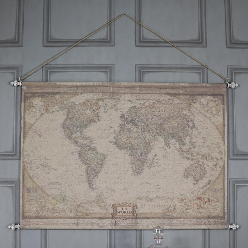 Large Vintage World Map Hanging Canvas Print