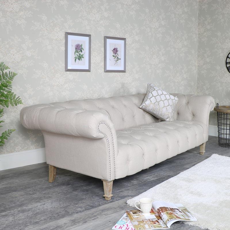 Large Cream Fabric 3 Seater Button Back Sofa