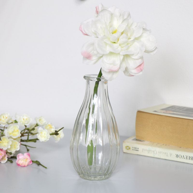 Clear Ribbed Glass Bottle Vase