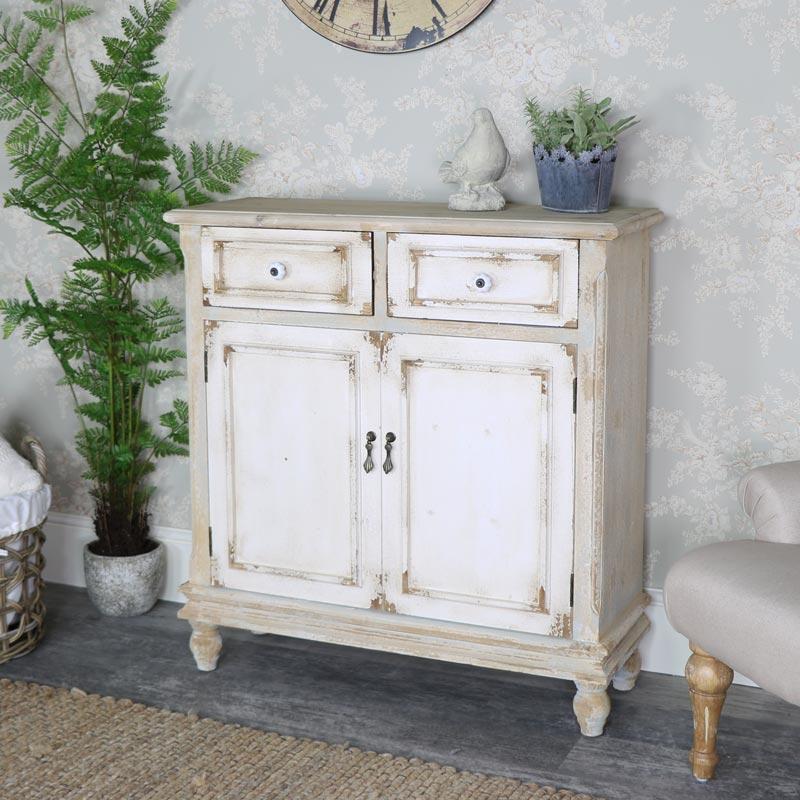 Rustic Wooden 2 Drawer Storage Cupboard