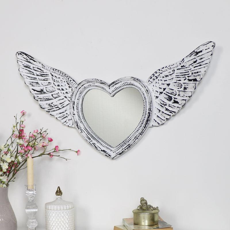 Antique White Angel Wing Mirror