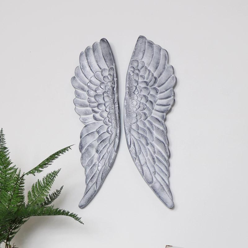Pair of Grey Angel Wings Wall Art