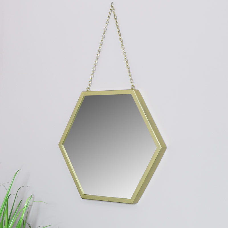 Large Gold Wall Mirror in Hexagonal frame 45cm x 45cm