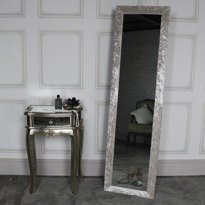 Tall Pearl White Crushed Velvet Framed Cheval Mirror