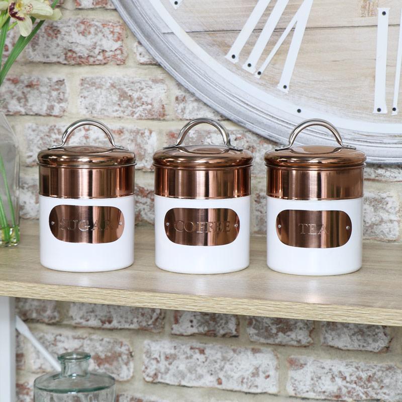 Copper & White Tea Coffee Sugar Canisters