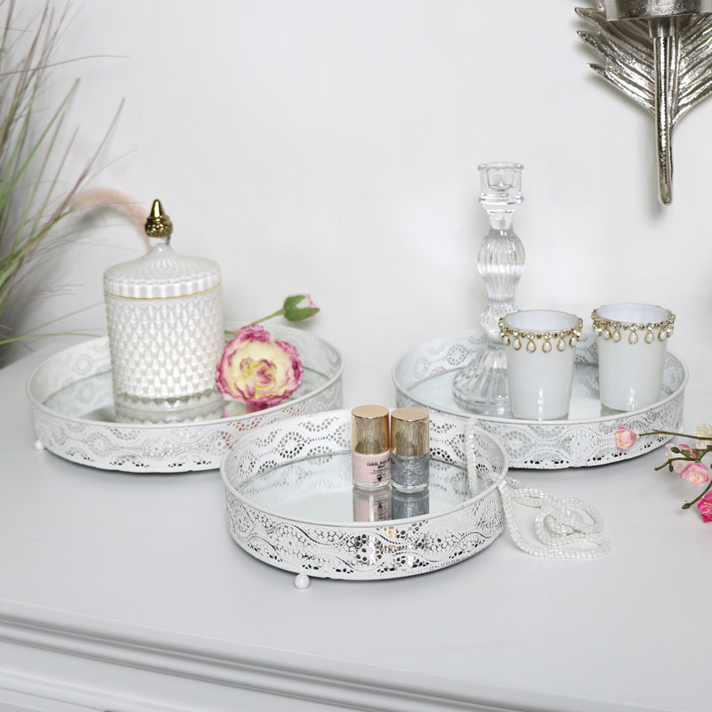 White Mirrored Display Trays