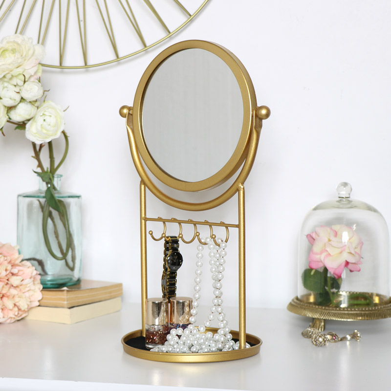Gold Vanity Mirror Jewellery Holder