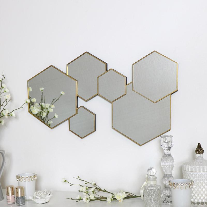 Gold Hexagon Wall Mirror