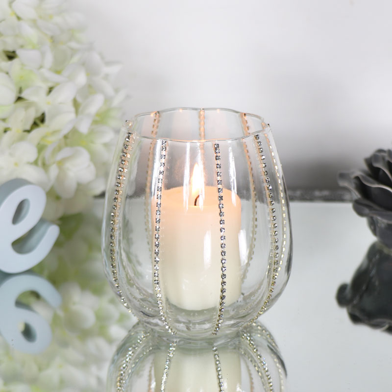 Pretty Silver Diamante Glass Tealight Holder