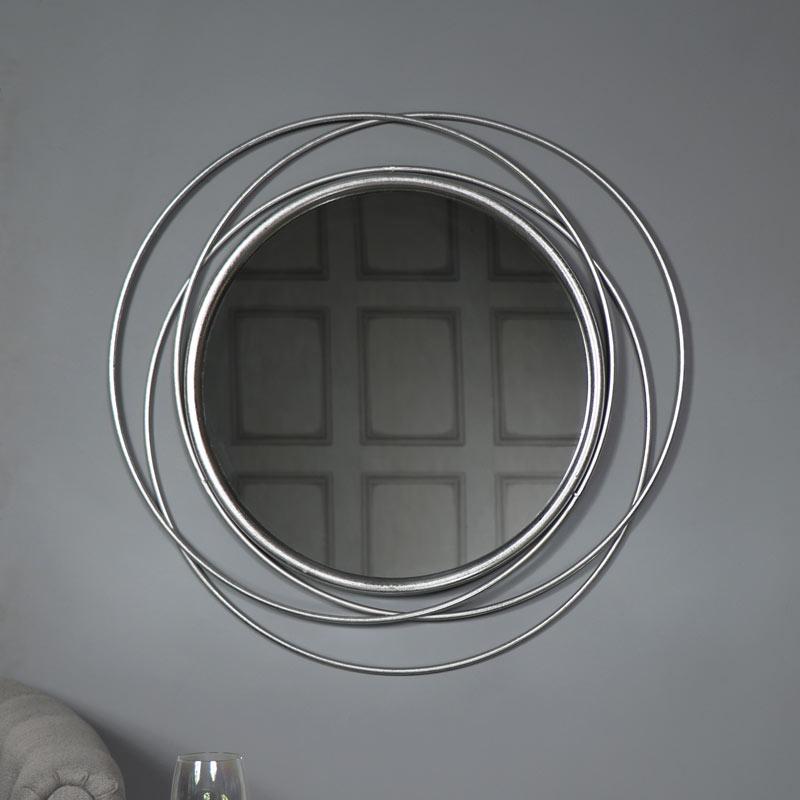 Large Round Antique Silver Swirl Mirror 80cm x 80cm