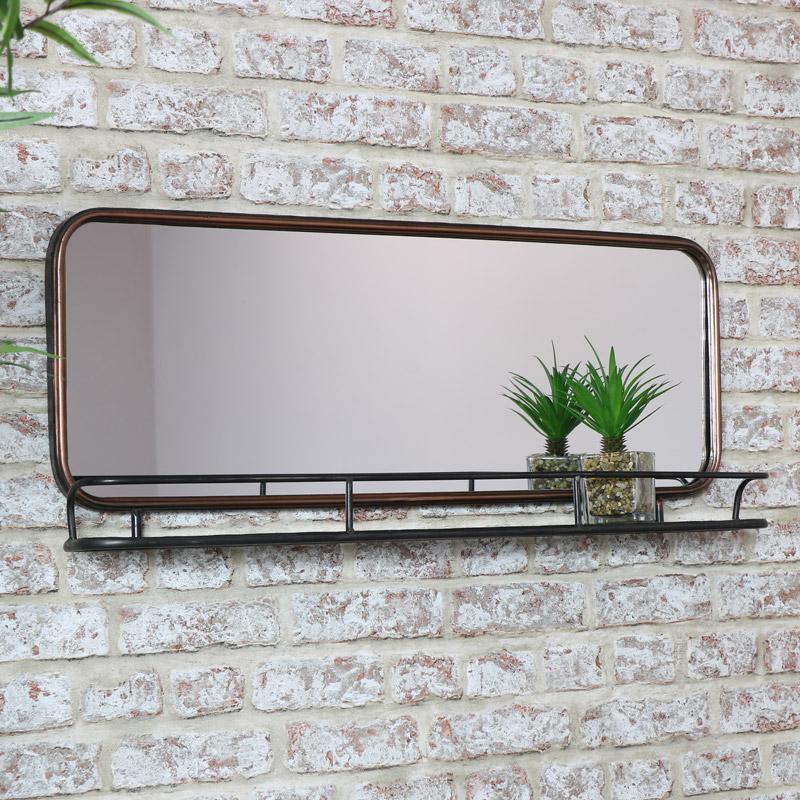 Copper Wall Mirror with Shelf
