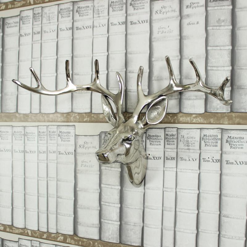 Silver Metal Stags Head - 38cm x 25cm