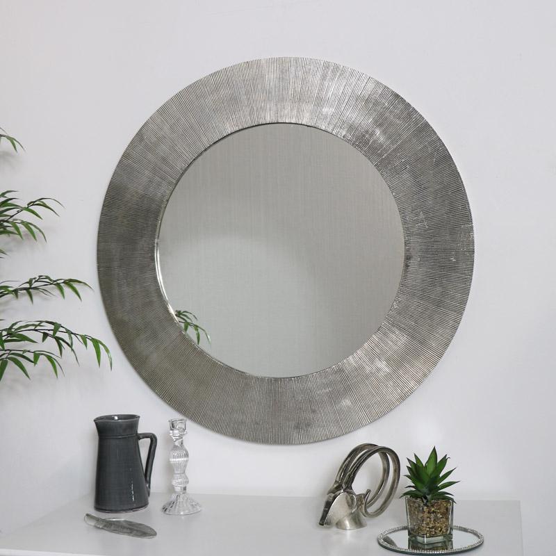 Large Round Silver Wall Mirror 88cm x 88cm