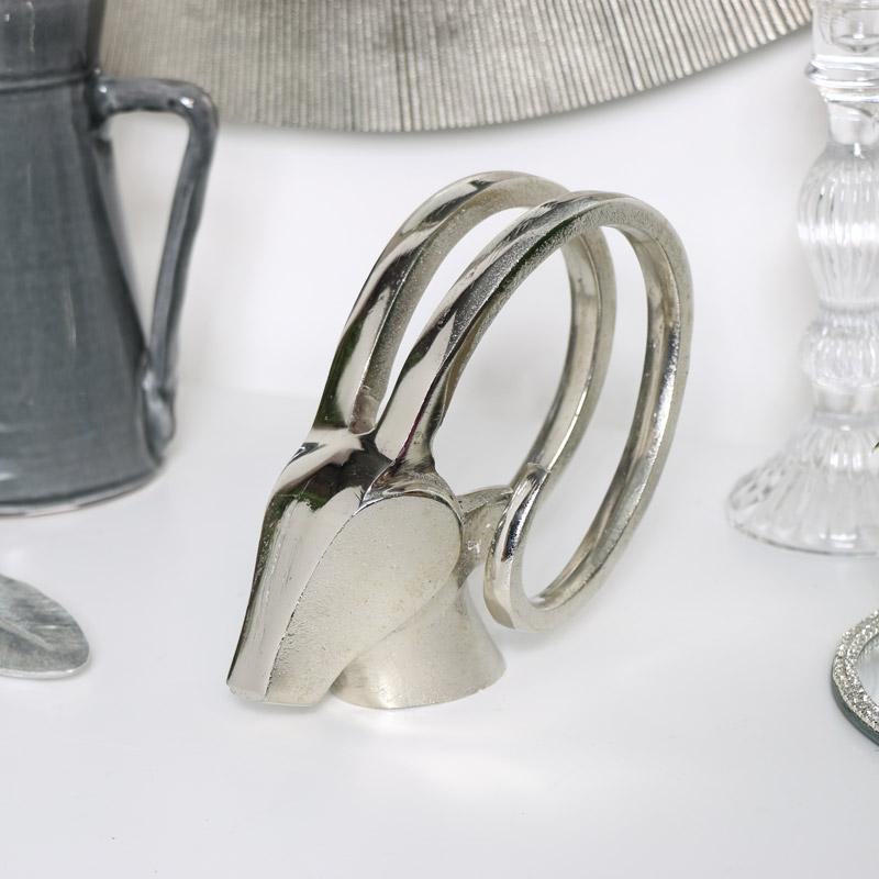 Silver Antelope Head Ornament