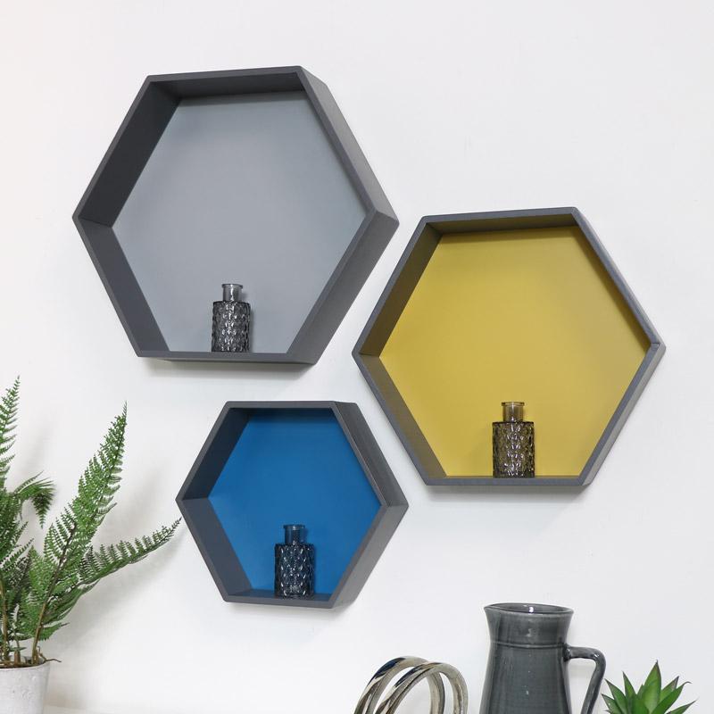 Hexagon Wall Mounted Display Shelves