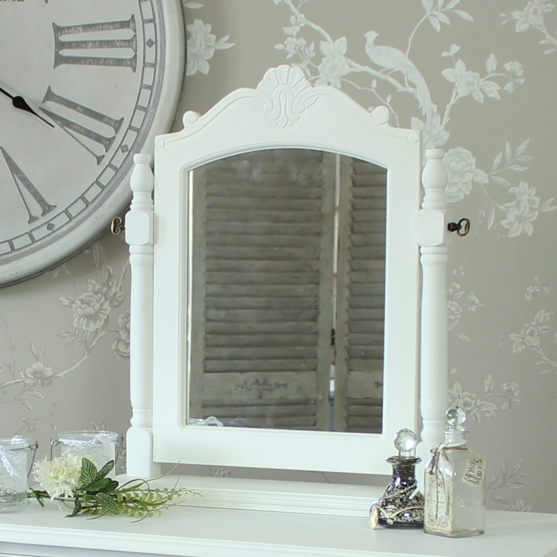 White Tabletop Vanity Mirror - Elise White Range