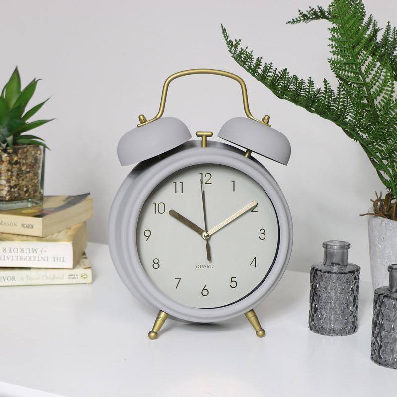 Grey Twin Bell Alarm Clock