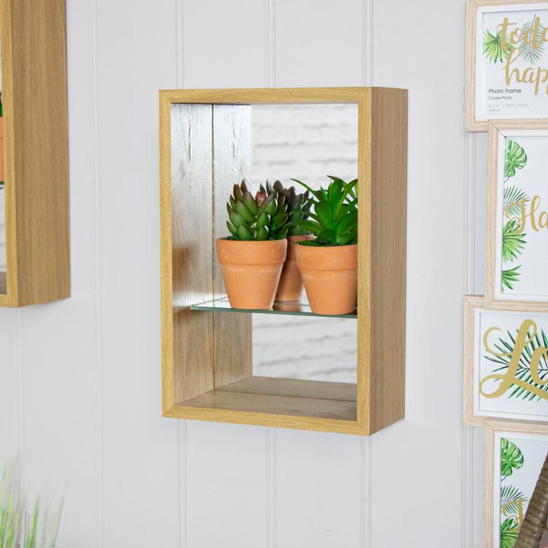 Natural Wood Mirrored Back Display Shelf 21cm x 31cm