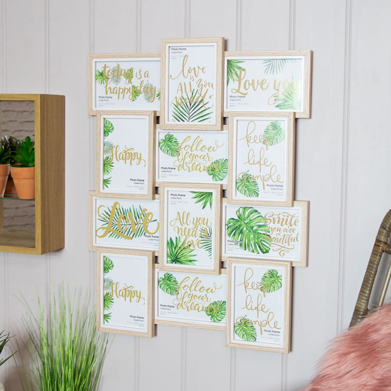 Multi Aperture Wall Mounted Photo Frames, Natural Colour