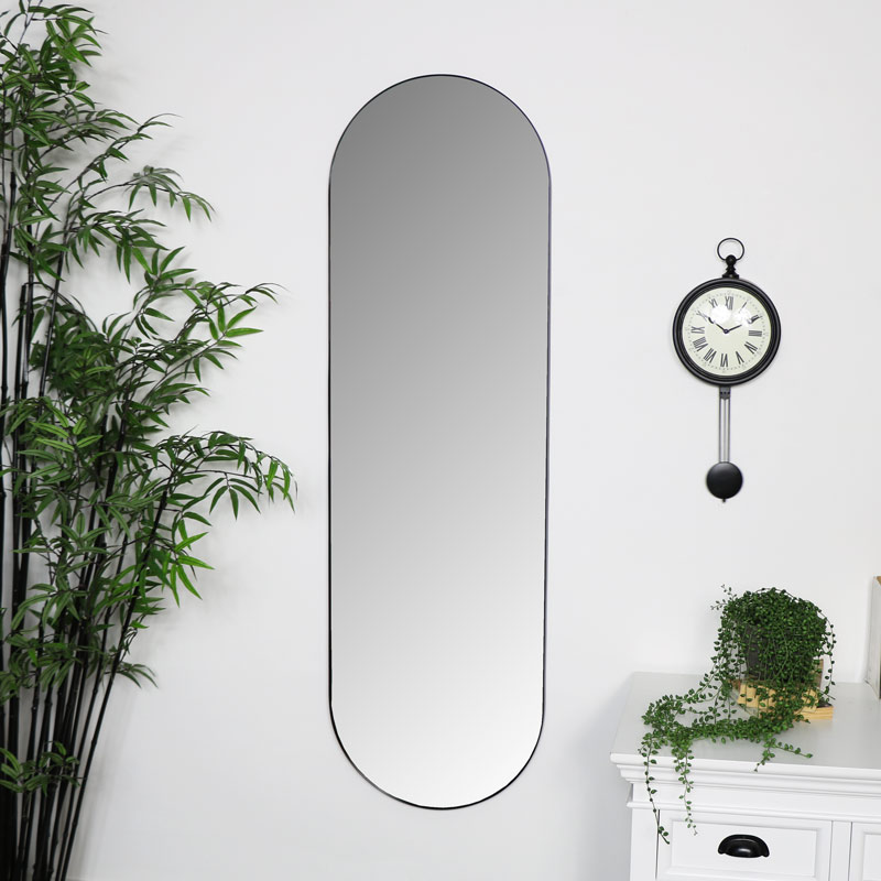 Black Oval Wall Mirror 40cm x 140cm