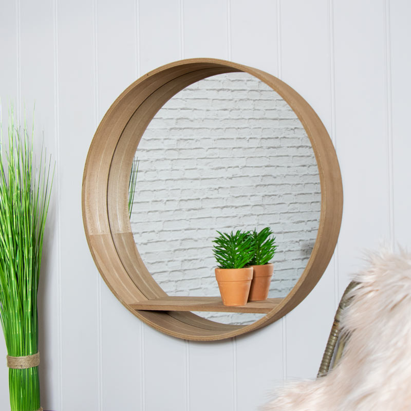 Large Round Mirrored Wall Unit