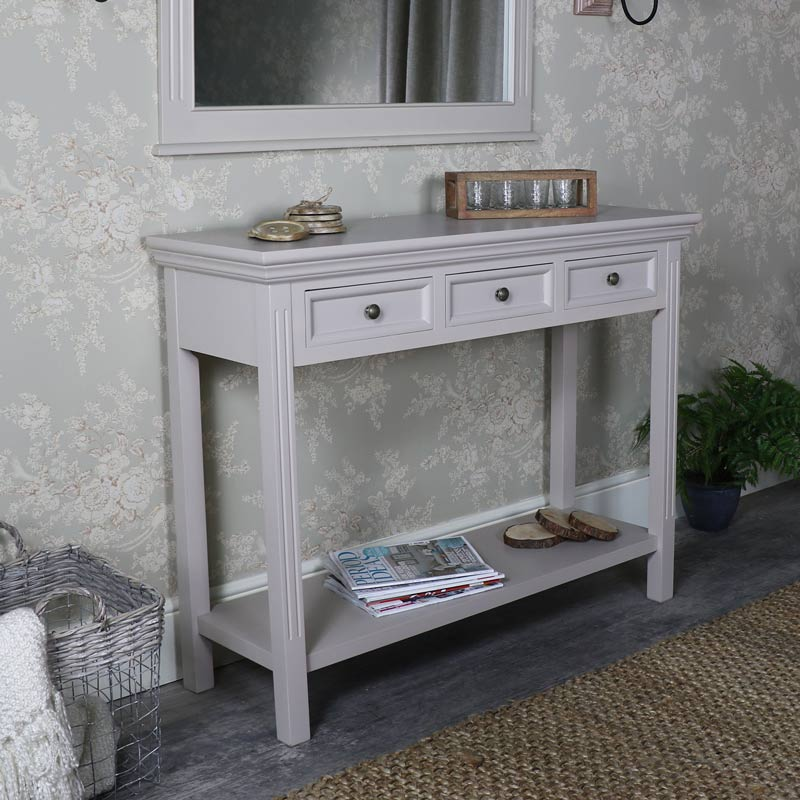 Large Three Drawer Sideboard/Console Table – Daventry Taupe-Grey Range