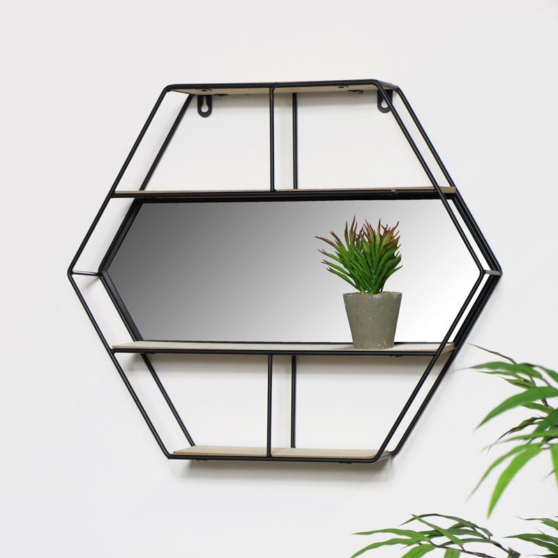 Black Hexagon Wall Shelf - Hexagon Mirror