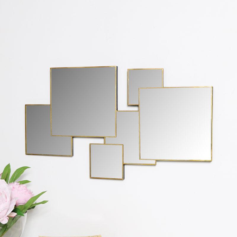 Gold Multi Square Wall Mirror