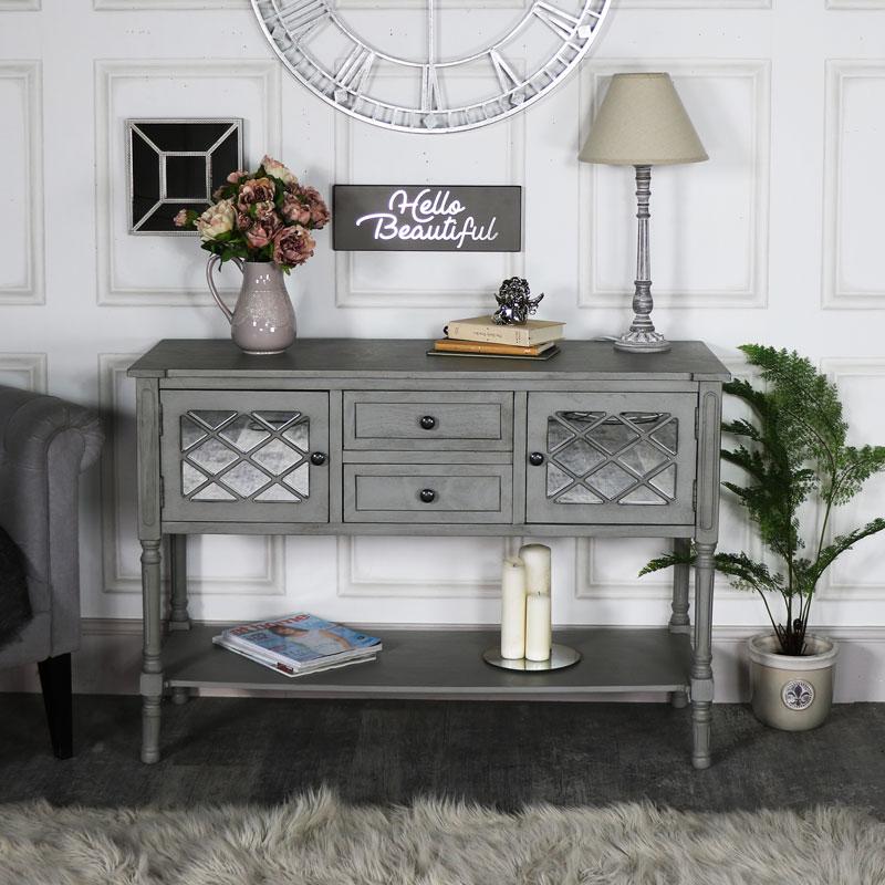 Large Grey Mirrored Sideboard Storage - Vienna Range