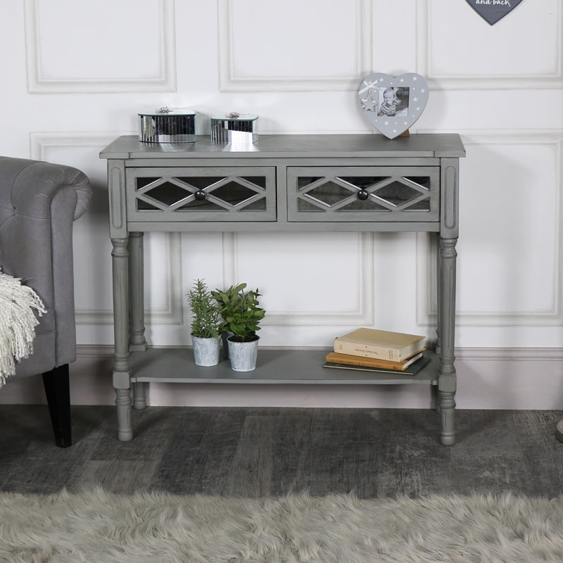 Grey Mirrored Console Table