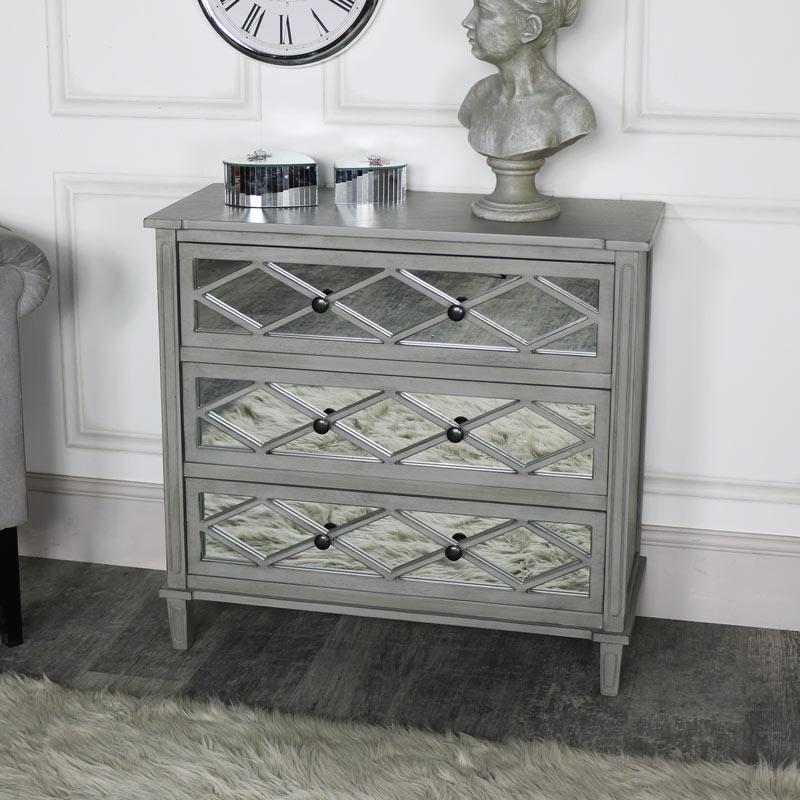 Grey Mirrored Chest of Drawers - Vienna Range