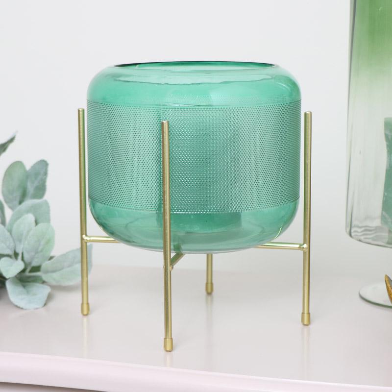 Green Glass & Gold Hurricane Candle Holder