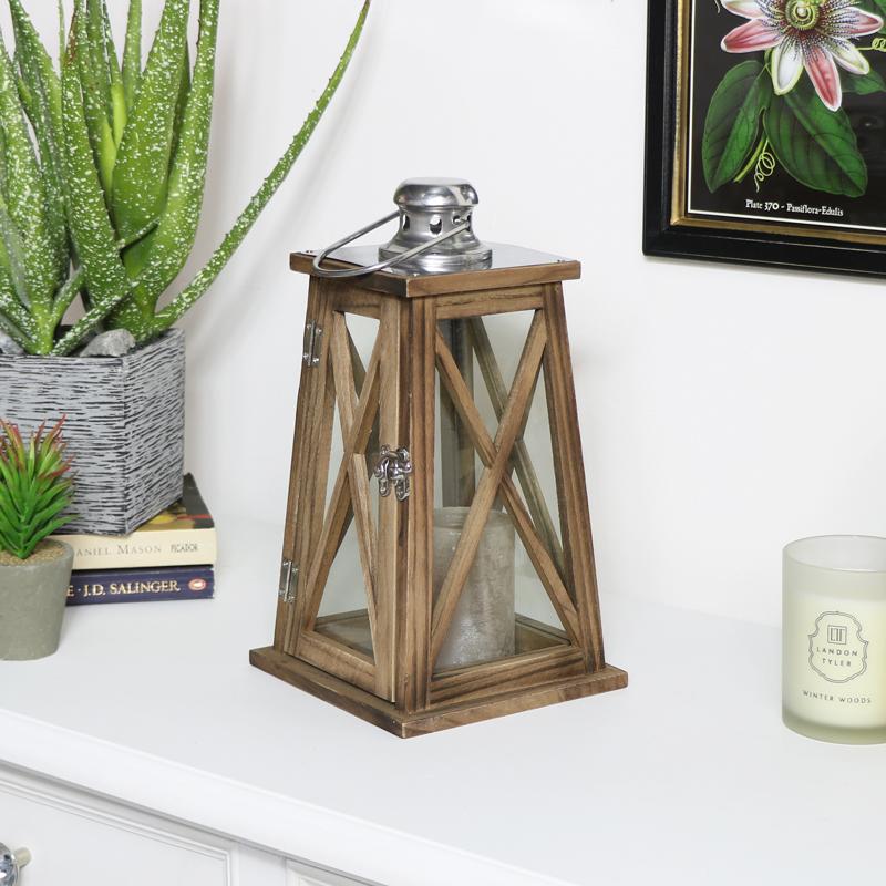 Rustic Wooden Lantern - Small